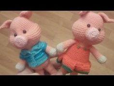 вязаный поросенок крючком часть 2 подробный МК - YouTube Crochet Pig, Crochet Amigurumi Free Patterns, Crochet Gifts, Crochet Toys, Holiday Crochet, Knitted Animals, Pull Toy, Sewing Toys, Amigurumi Toys