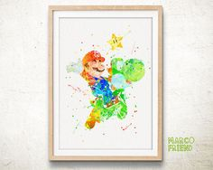 Hey, I found this really awesome Etsy listing at https://www.etsy.com/listing/237810033/super-mario-bros-dragon-yoshi-watercolor