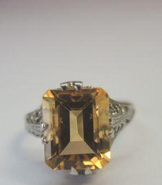 Antique Citrine Engagement Ring Solitaire18K Ring Size 5.75 UK-L Art Deco Fine #Solitaire