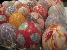 DIY - Use 100% silk ties or scarves (hello, Goodwill!) to make these gorgeous Easter eggs. Click for step-by-step instructions.