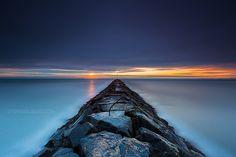 Stormy #sunset #Sunrise over Atlantic Ocean Horizon and Jetty, Hampton Beach State Park New Hampshire
