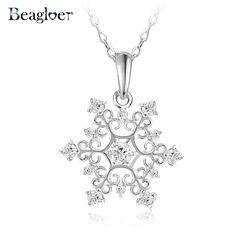 Beagloer Exquisite Snowflake Pendant Platinum Plated with Zirconia Jewellery Valentine's Day Gift CNL0215-B