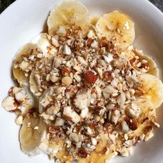 Natural yoghurt, bananas, honey and chopped nuts #breakfastofchampions