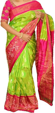 Green Handloom Ikat Pure Silk Saree