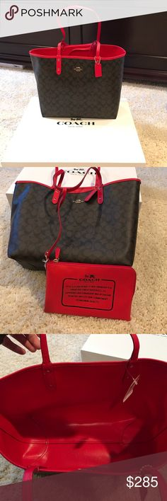 🎉5X HP 🎉💯 Authentic Brown and Red Coach Purse This is a gorgeous 💯 authentic, brand new with tags coach bag! It is dark brown outside with a beautiful red inside! 🎉There is a bonus!!!! It is reversible so you can have the dark brown bag or a red bag🎉🎉 It also has a bonus red zipper bag/pouch which is shown in picture 2! It has the stuffing that was in it when purchased as well as the white box, shown in the pictures! F36658 (IM/Brown Bright Red) Coach Bags Shoulder Bags