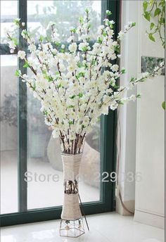"5PCS Artificial Cherry Plum Spring Peach Blossom Spray Branch Silk Flower Tree 125CM/49.22"" White Color-in Decorative Flowers & Wreaths from..."