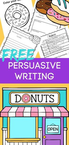 Free Persuasive Writing Packet - The Annual Creative Donut Contest Teach your students how to write a persuasive essay with this free persuasive writing packet. It's no prep for busy educators. Writing Lessons, Teaching Writing, Writing Skills, How To Teach Writing, Teaching Genre, Writing Goals, Writing Process, Writing Ideas, Persuasive Writing Examples