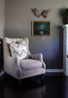 Karen Tufted Linen Accent Chair, Ivory - $1,749