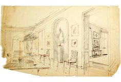 Sketch of a room with an arched recess. Brown pen and pencil on tracing paper.
