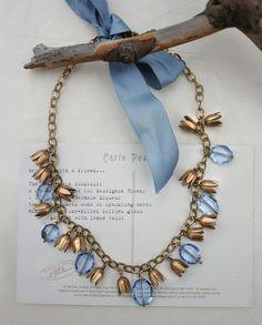 Floral vintage style statement necklace - Blue crystal & brass flower necklace