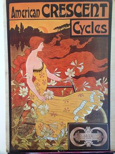 Large Vintage Cycling Poster American Crescent by BirchTreeLane, $30.00