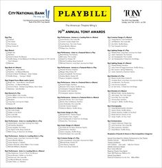 Playwrights Perspective Try This At Home Diy Tony Awards  Tony