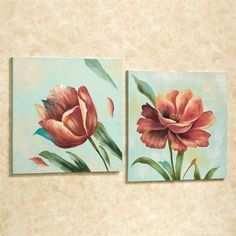 Sring Blossom Canvas Art Cranberry Set of Two