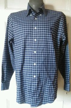 Brooks Brothers Navy Blue Windowpane Casual Button Up Shirt Non Iron Size L