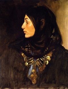 The Athenaeum - Egyptian Woman (John Singer Sargent - ) Dark in front of face, light behind head (right) He makes you look at the face.