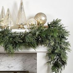 Looking for the Mixed Cedar Christmas Garland to help Deck Your Halls this season? Shop Ballard Designs for fun new Christmas and Holiday items. Get the Mixed Cedar Christmas Garland here and show off your festive style! Gold Christmas Decorations, Christmas Mantels, Christmas Door, Blue Christmas, Beautiful Christmas, Christmas Holidays, Christmas Wreaths, Christmas Greenery, Christmas Fireplace Garland