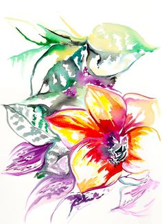 Original Floral Watercolor Painting - Botanical Illustration