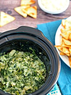 Crockpot Skinny Parmesan Spinach Dip is the perfect tailgate appetizer! Easy, healthy(er), and delicious! - The Cookie Rookie