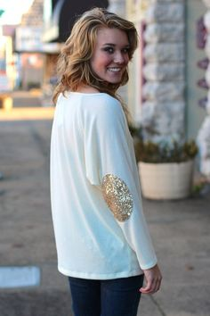 Sequin Elbow Patch Sweater {Cream} | The Fair Lady Boutique