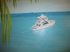 """Customer's boat """" The ReyAnne"""" painted within their beach scene mural for the master bed room"""