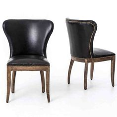 Richmond Black Leather Wingback Dining Chair with Weathered Oak Frame Black Leather Dining Chairs, Metal Dining Chairs, Living Room Chairs, Wing Chairs, Dining Table, Black Chairs, Folding Chairs, Dining Area, Kitchen Dining