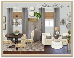 A dining room with soft french influences. Design by FieldstoneHillDesign.com