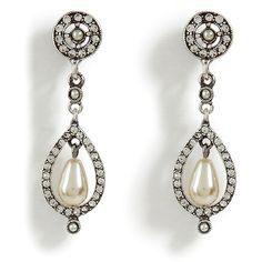 R.J.GRAZIANO Small Silver Pearl Drop Crystal Earrings - R.J.... - Polyvore