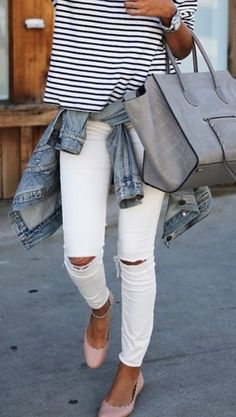 #spring #outfits  Striped Top + White Ripped Skinny Jeans + Pink Flats