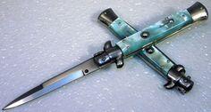 9 inch italian switchblade stiletto knife blue cracked ice bayo blade