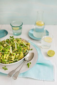 A fresh and summery basil pesto, pea, pine nut and pecorino pasta salad perfect for serving alongside your main or as a light lunch. Basil Pesto, Pesto Pasta, Pasta Salad, Al Fresco Recipe, Braai Salads, Salad Recipes, Healthy Recipes, Savoury Recipes
