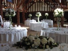 Great Fosters wedding reception - Tithe Barn with ivory and vintage pink wedding flowers centrepieces Wedding Stuff, Wedding Flowers, Wedding Ideas, Hotel Wedding Receptions, Great Fosters, Peonies And Hydrangeas, Country House Hotels, Pink Themes, Centrepieces