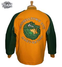 Campbelltown City Alley-Gators bowling team embroidered custom wool and  leather varsity jacket back by