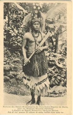 Samoan Chief in Traditional Dance Dress, ca. 19th Century, published in French, Samoan Postcards.