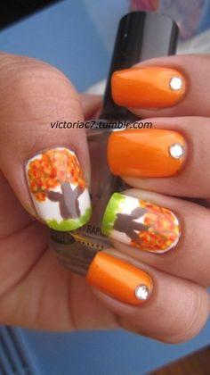 Autumn tree nail art