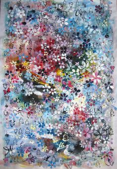 spring flower art spring painting abstract flower by sjkim on Etsy