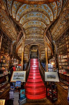 Red Staircase of Lello Bookstore ~ Porto Portugal