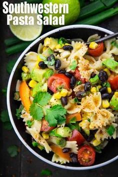 This southwestern pasta salad with avocado and black beans is one of my favorite summer recipes. It's the perfect grilling recipe! Find more vegan recipes at veganheaven.org. #vegan #summerrecipes #pastasalad