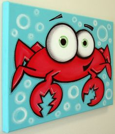 Crab 12 x 16 original acrylic painting on canvas art в 2019 Painting For Kids, Painting & Drawing, Crab Painting, Shark Painting, Cartoon Painting, Kids Canvas, Canvas Art, Acrylic Painting Canvas, Knife Painting