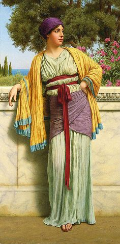 """Cestilia"" by John William Godward. Dates: 1919 Artist age: Approximately 58 years old. Dimensions: Height: cm in.) Medium: Painting - oil on canvas. John William Godward, John William Waterhouse, William Adolphe Bouguereau, Lawrence Alma Tadema, Classic Paintings, Beautiful Paintings, Beautiful Images, European Paintings, Pre Raphaelite Paintings"