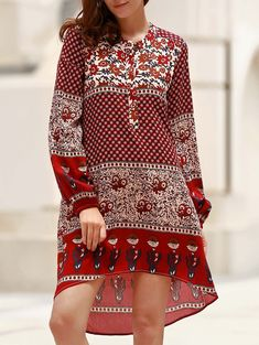 $15.18 Charming Jewel Neck Long Sleeve Printed Asymmetric Dress For Women