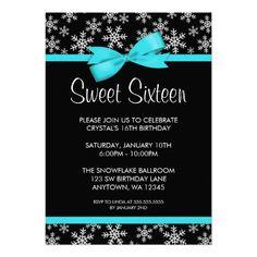 Snowflakes Teal Bow Winter Wonderland Sweet 16 Custom Invitation Sixteen Invitations Quince