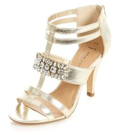 Wide Fit Gold Caged Jewelled Strap Open Toe Heels