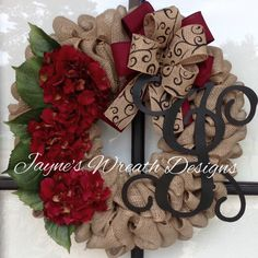 Burlap Wreath with Hydrangeas, Vine Script Letter, and Bow