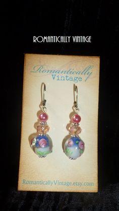 Floral Garden Spray Earrings Blue Romantic by RomanticallyVintage, $17.50