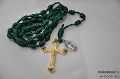 Green Irish Knotted Twine Rosary Featuring a Double-Sided St. Patrick / St. Bridget Patron Saint Medal and a Golden Shamrock Crucifix