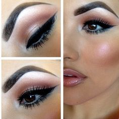 winged liner + nude lips