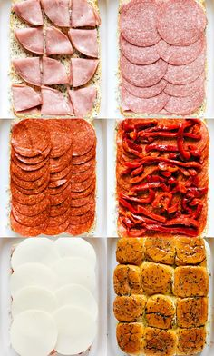Easy baked Italian sliders with ham salami pepperoni roasted red peppers and provolone. These sliders are so quick easy and make the perfect appetizer! Mini Sandwiches, Steak Sandwiches, Quick Appetizers, Appetizer Recipes, Italian Appetizers, Italian Salami, Salami Recipes, Pepperoni Recipes, Italian Foods