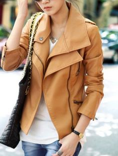 Brown Long Sleeve Zipper PU Leather Coat