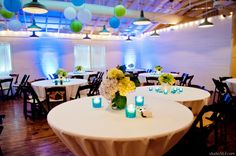 Beach themed reception. Teal, green, blue, and white