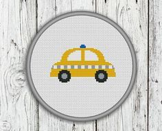 Yellow Taxi Car Counted Cross Stitch Pattern by CrossStitchShop